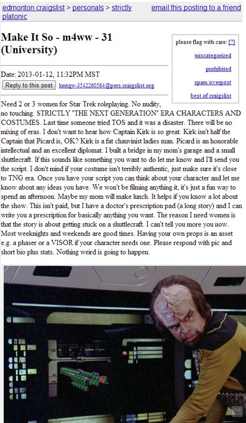Sad sketchy craigslist personals the next generation Star Trek seems legit - 6977925888