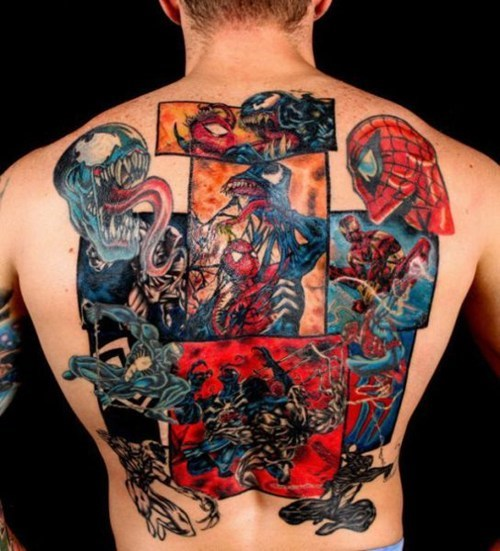 comic books,back tattoos,Spider-Man,Venom,g rated,Ugliest Tattoos