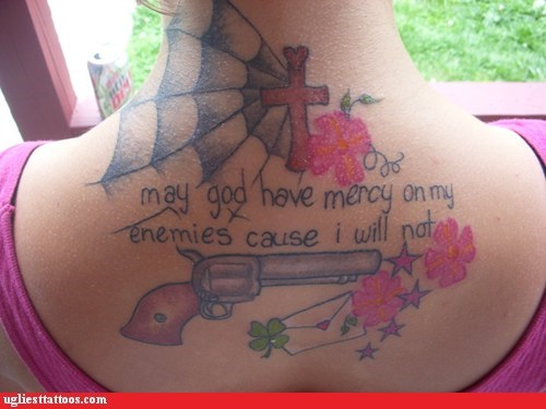 guns,cross,back tattoos