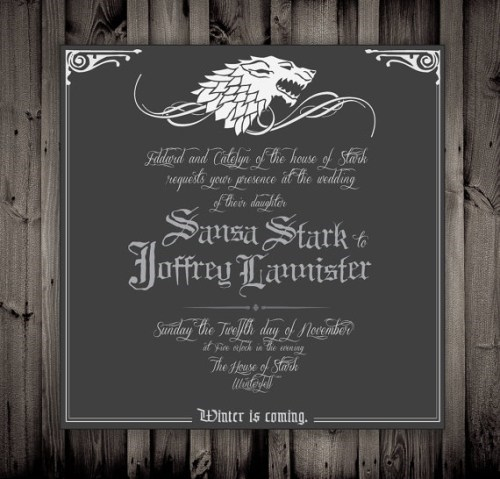 invitation,sansa stark,Winter Is Coming,Game of Thrones,joffrey lannister