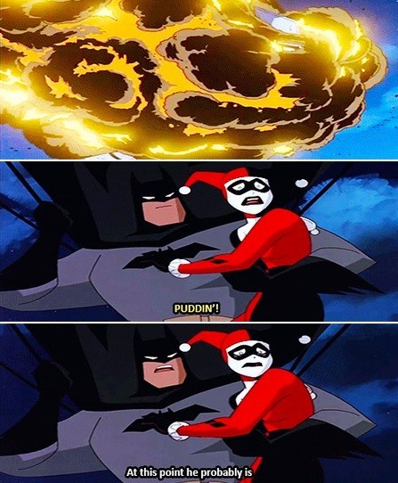 witty,timing,comeback,puddin,the joker,literalism,batman,pet name,Harley Quinn