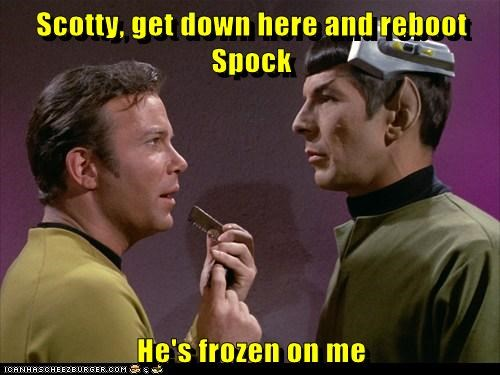 Captain Kirk reboot scotty Spock Leonard Nimoy William Shatner frozen Shatnerday