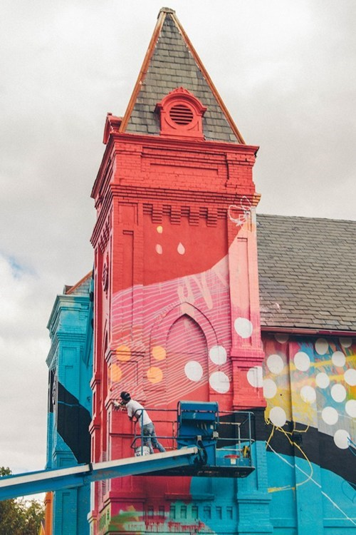 Street Art architecture graffiti church pretty colors - 6978509312