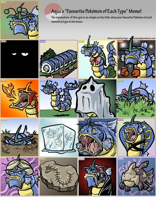 gyarados art each type favorite pokemon