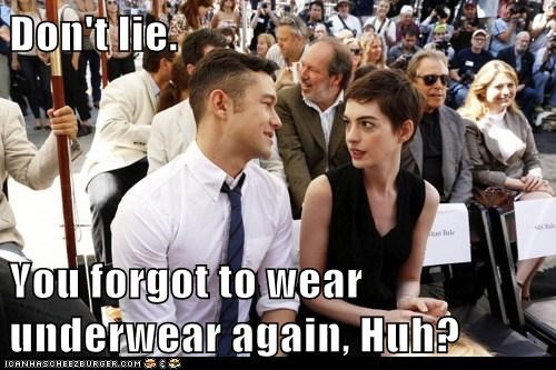 anne hathaway,again,Joseph Gordon-Levitt,forgot,underwear