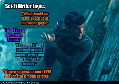 writers cliches movies Spock Zachary Quinto gun Vulcan Star Trek originality logic star trek into darkness
