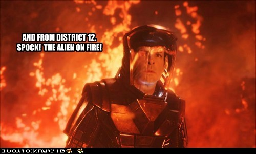 the girl on fire district 12 Spock Zachary Quinto alien hunger games odds
