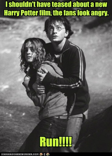 teasing,Harry Potter,Daniel Radcliffe,hermione granger,run,Movie,angry,fans,emma watson