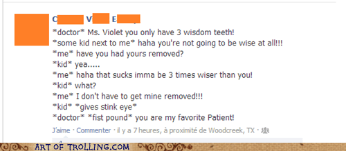 patient,dentist,wisdom teeth,facebook