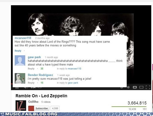 led zeppelin Lord of the Rings youtube comments