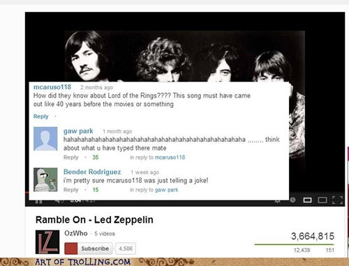 led zeppelin Music comments Lord of the Rings youtube - 6979781376