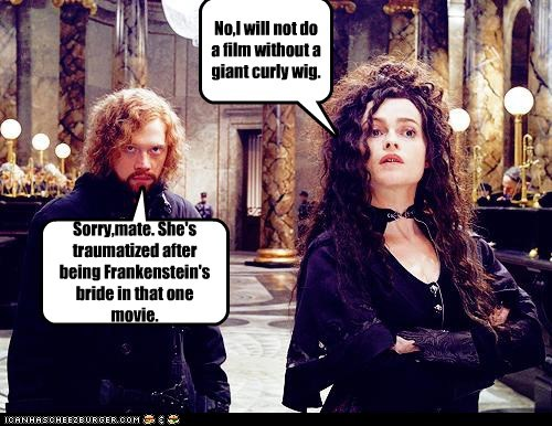traumatized,bride,Harry Potter,helena bonham-carter,frankenstein,wig,film,rupert grint,no