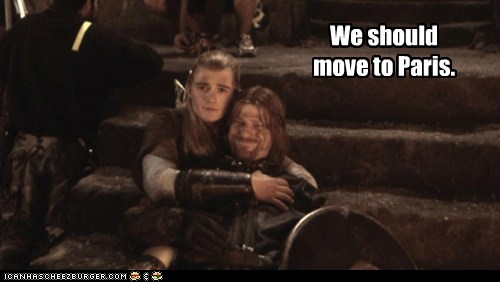 legolas,relationship,paris,sean bean,orlando bloom,hugging,Boromir,gay,moving