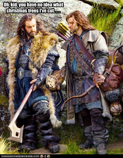 richard armitage,no idea,dwarves,christmas trees,cut,axe,thorin oakenshield
