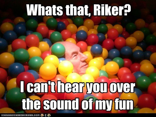 fun,william riker,Captain Picard,ball pit,the next generation,sound,Star Trek,patrick stewart