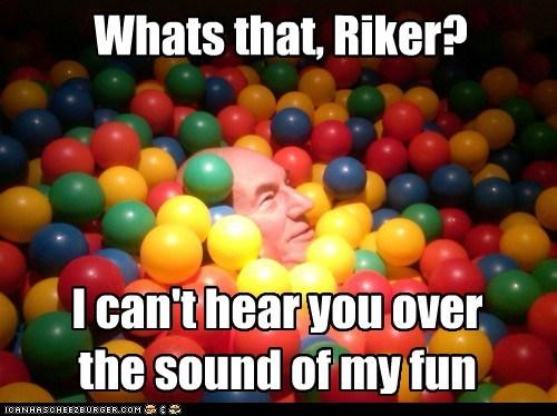 fun william riker Captain Picard ball pit the next generation sound Star Trek patrick stewart - 6980508160