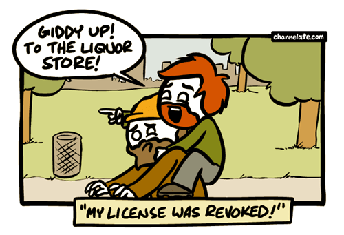 hobo awaaaaay drunk driving license liquor store