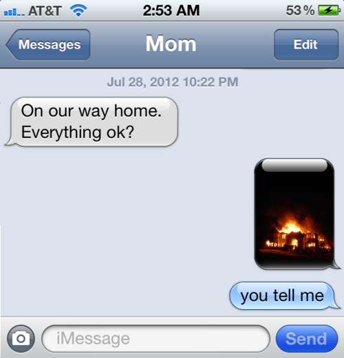 phones,text message,fire,mom