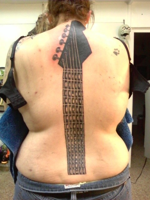 guitar,back tattoos