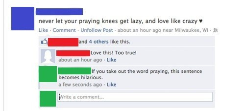 knees religion praying facebook unfriended - 6981000704