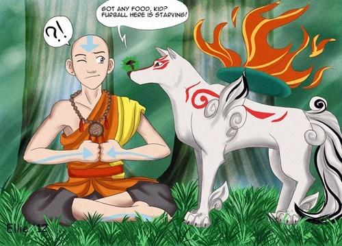 Ōkami crossover Fan Art Avatar the Last Airbender cartoons video games - 6981149952