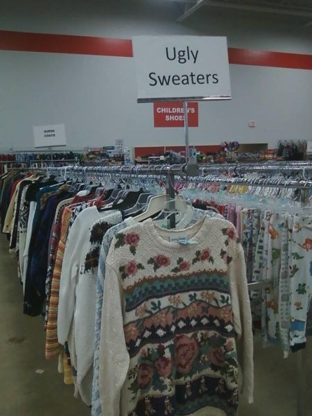 ugly sweaters signs thrift store - 6981324544