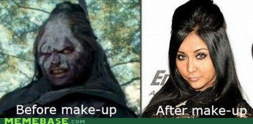 Lord of the Rings,snooki,totally looks like,make up