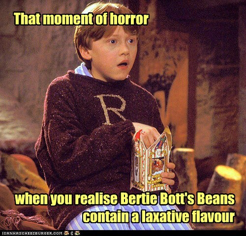 Every Flavor Beans,horror,Harry Potter,bertie bott,moment,rupert grint,Ron Weasley,laxative