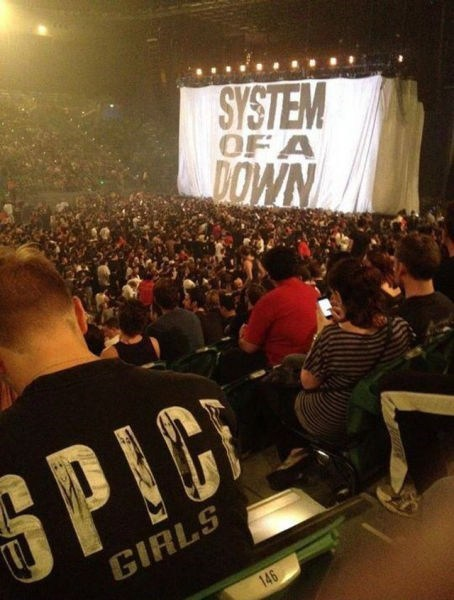 system of a down spice girls concert T.Shirt