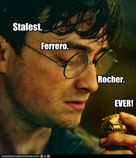 candy,Harry Potter,Daniel Radcliffe,stale,chocolate,snitch,ferrero rocher