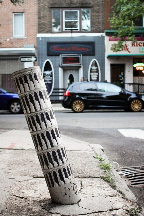 Street Art leaning tower of pisa hacked irl