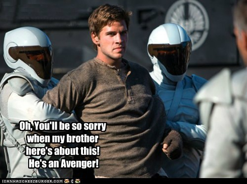 brother,gale,The Avengers,liam hemsworth,hunger games,threat,sorry