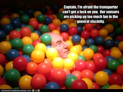 fun,transporter,Captain Picard,ball pit,the next generation,Star Trek,patrick stewart