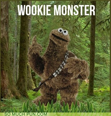 shoop,Cookie Monster,wookiee,juxtaposition,muppet