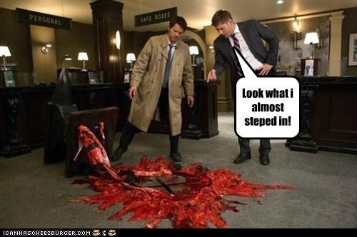 Blood jensen ackles Supernatural dean winchester look misha collins castiel mess - 6982144256