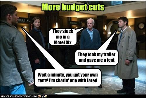 sharing jensen ackles budget cuts tent Supernatural dean winchester misha collins sam winchester Jared Padalecki castiel motel 6 - 6982483968