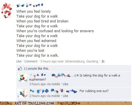 sentimental moment,facebook,fapping,dog walking