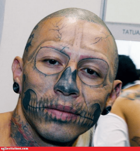 skull,face tattoos,zombie boy