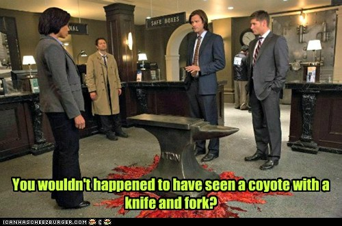 looney tunes jensen ackles anvil coyote fork knife Supernatural dean winchester misha collins sam winchester Jared Padalecki castiel - 6983652096