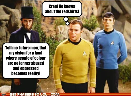 william shatnerday,Captain Kirk,color,abraham lincoln,Spock,future,redshirts,Leonard Nimoy,Shatnerday
