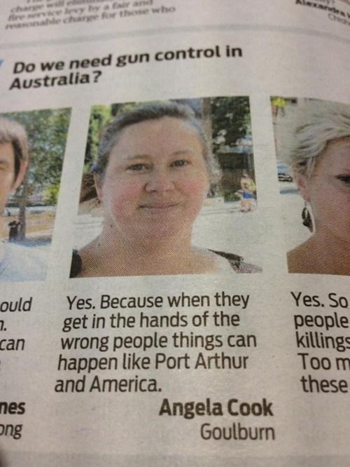 ouch australia gun control newspaper