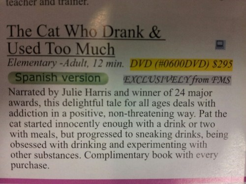 cat Cautionary Tale drank too much addiction