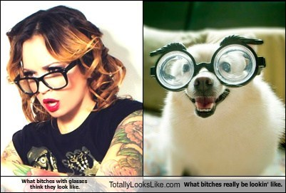 What bitches with glasses think they look like. Totally Looks Like What bitches really be lookin' like.