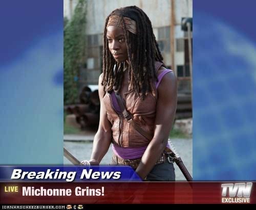 Breaking News - Michonne Grins!