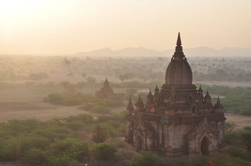 Hot Air Balloon,temple,landscape,myanmar