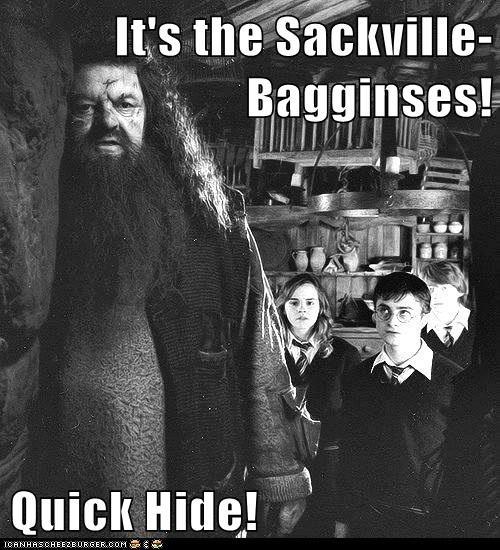 It's the Sackville-Bagginses! Quick Hide!