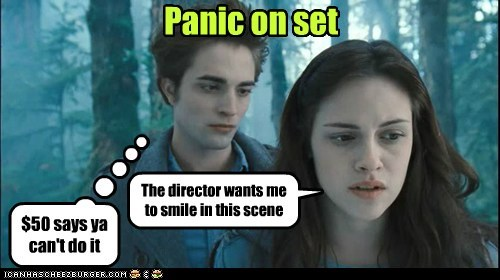 kristen stewart,edward cullen,director,robert pattinson,twilight,panic,bella swan,cant,smile
