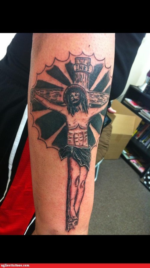 jesus,arm tattoos,crucifix