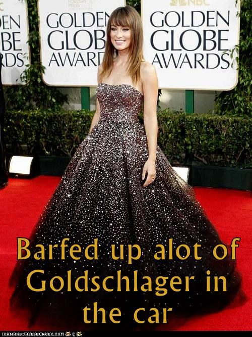 drinking,golden globes,car,olivia wilde,goldschlager,gold,barf