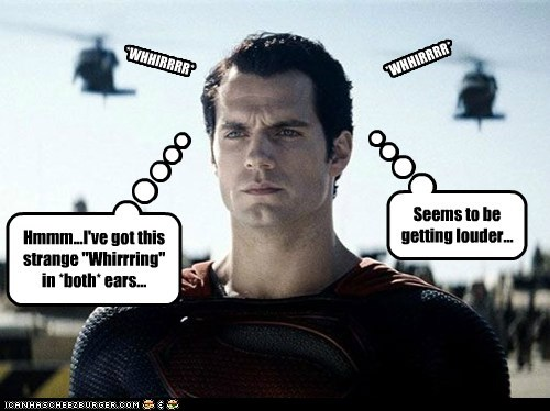 whirring helicopters ears man of steel superman Henry Cavill